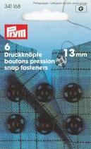 Prym 6 Druckknöpfe 13 mm schwarz