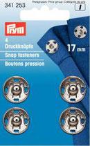 Prym 4 Druckknöpfe 17 mm silber