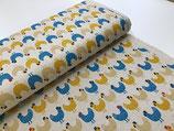 Cotton Flax Prints Hühner beige