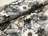 Baumwollstoff Maditha Blumen schwarz/weiß