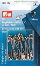 Prym 12 Kugelsicherheitsnadeln, Stahl 34 mm