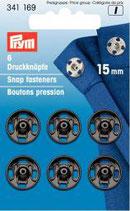 Prym 6 Druckknöpfe 15 mm schwarz