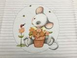 Mausi mit Blumentopf by Birgit Boley grau