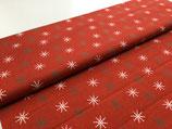 Patchwork-Baumwolle Sterne weiß/gold/rot