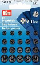 Prym 20 Druckknöpfe 6-11 mm schwarz