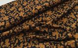 Viskose-Crepe Hilda Blüten camel/schwarz