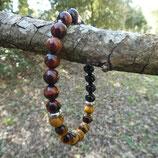 Bracelet Obsidienne noire, Œil de Tigre, Œil de Taureau