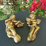 Anges Musiciens dorés murales - La paire