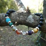 Bracelet Obsidienne noire & 7 pierres Chakras N° 2