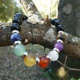 Bracelet Obsidienne noire & 7 pierres  Chakras N° 1