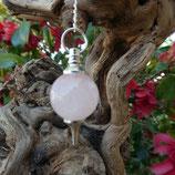 Pendule boule Quartz rose argenté