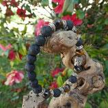 Bracelet Œil de tigre et pierres de lave