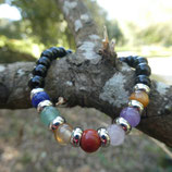 Bracelet Obsidienne noire & 7 pierres Chakras N° 3
