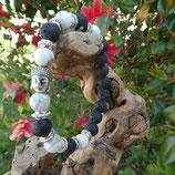 Bracelet Howlite et pierres de Lave