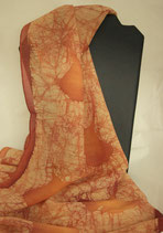 Ginkgoblätter - Wollgeorgette Schal  32 x 156 cm - Wachsbatik -Unikat - Handsigniert -