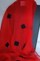 Hellroter Chiffon Schal befilzt  45 x 170 cm - Unikat -