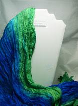 Grün-Blauer Pongeseidenschal  90 x 170 cm - Plisseetechnik - Unikat