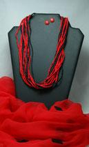 Rot-Schwarz, Pure Sinnlichkeit- Chiffonseidenschal 53 x 170 cm befilzt, Seidenkette und rote Ohrstecker