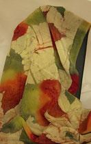 Herbstblätter auf Crepe de Chine  12 Seide - 86 x 86 cm -Wachsbatik -Unikat - Handsigniert -