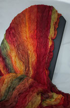 -verkauft- Anfertigung auf Anfrage- Herbstfarben - Farbverlauf und Plisseetechnik auf einem Pongeseidenschal 90 x 170 cm   - Unikat -