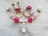 Geschenkset Rasselring, Schnullerkette, Kinderwagenkette Katze