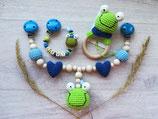 Geschenkset Rasselring, Schnullerkette, Kinderwagenkette Frosch