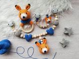 Geschenkset Fuchs -- Rasselring, Schnullerkette, Kinderwagenkette