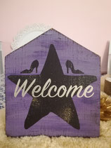 "Holzschild Hausform ""Welcome Glitter"""