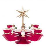 Adventsleuchter mit Stern klein, rubinrot, mit Engel sitzend
