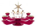Adventsleuchter mit Stern groß, rubinrot, mit Engel stehend