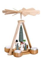 Teelichtpyramide mit Schneemänner bunt