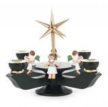 Adventsleuchter mit Stern klein, dunkelgrün, mit Engel sitzend
