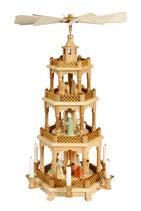 Pyramide Christi Geburt geschnitzte Figuren lasiert