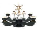 Adventsleuchter mit Stern groß, dunkelgrün, mit Engel stehend