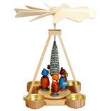 Teelichtpyramide mit Laternenkindern bunt