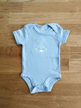Kurzarm-Babybody MOIN (babyblau / weiß)