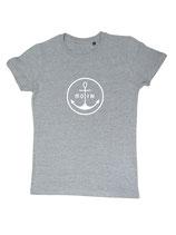 Damen T-Shirt MOIN (grau / weiß)