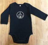 Langarm-Babybody MOIN (schwarz / weiß)