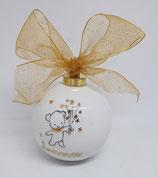 Boule de Noël Mignonnerie personnalisée avec un prénom, petit Ours et étoiles or