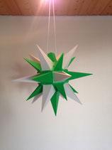 Herrnhuter LED Advents-und Weihnachts Stern A4, ca. 40 cm, Kunststoff, Weiß / Grün , für Außen, wetterfest