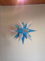 Herrnhuter LED Advents-und Weihnachts Stern A4, ca. 40 cm, Kunststoff, Weiß / Blau , für Außen, wetterfest
