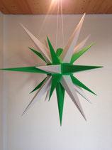 Herrnhuter LED Advents-und Weihnachts Stern A7, 68 cm, Kunststoff, Weiß / Grün, für Außen, wetterfest