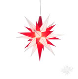 Herrnhuter LED Advents-und Weihnachts Stern A1e, 13 cm, Kunststoff, weiß / rot