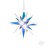 Herrnhuter LED Advents-und Weihnachts Stern A1e, 13 cm, Kunststoff, weiß / blau, LED Beleuchtung