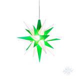 Herrnhuter Advents-und Weihnachts Stern A1e, 13 cm, Kunststoff, weiß / grün, LED Beleuchtung