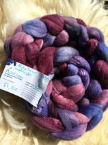 handgefärbter Kammzug Merino 18,5µ / Maulbeerseide # 7/16