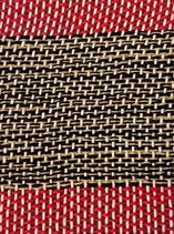 Grusskarte Wolle schwarz-gelb-rot Streifen