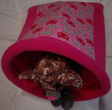 Muster Kuschelsack  mit Einsatz, normal,  Ein Katzentraum in pink, Baumwolle, mit pinkem Einsatz, Innenseite Fleece, pink