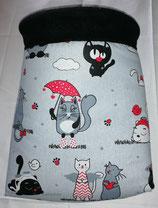 Kuschelsack KS002, Fat Cats mit Schirm, Innenseite Fleece schwarz