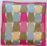 Raschelkissen japan. Katzen pink bunt, Baumwolle, Rückseite Fleece pink